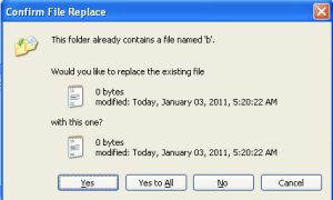 Windows XP 的多个文件覆盖提示对话框